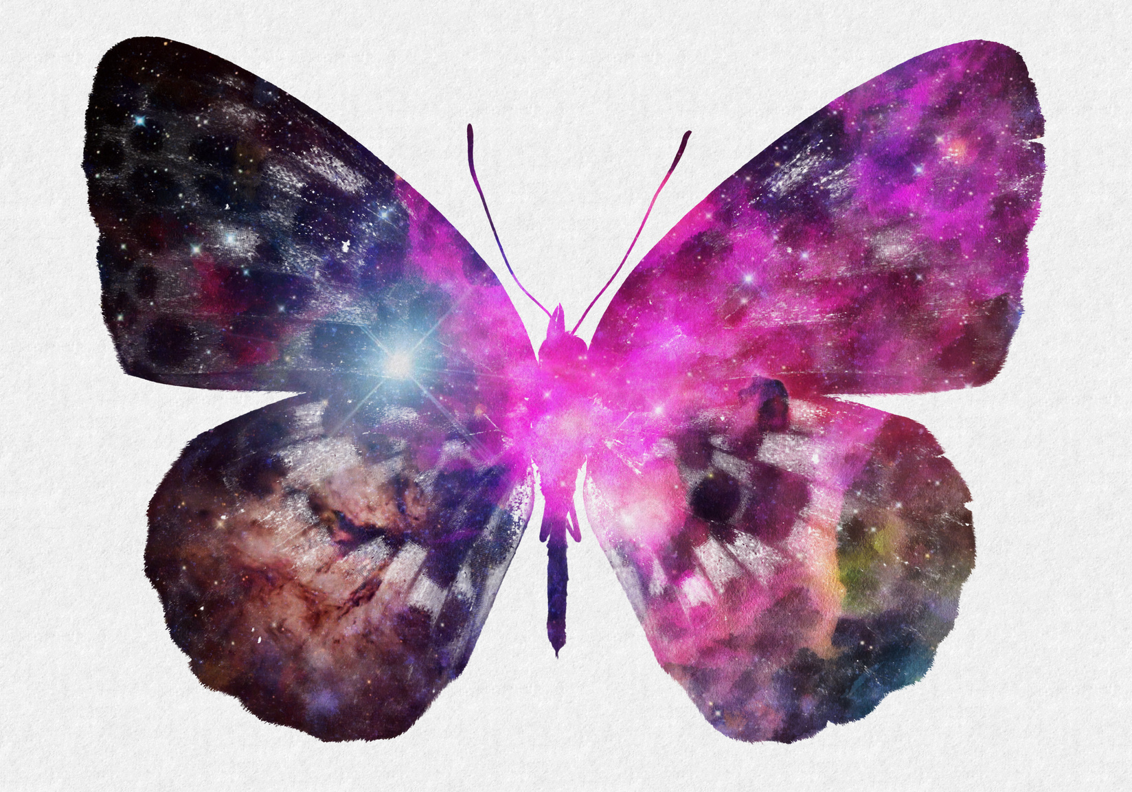 Watercolor Space Butterfly Art, Space Texture, Print Ready, Poster Design