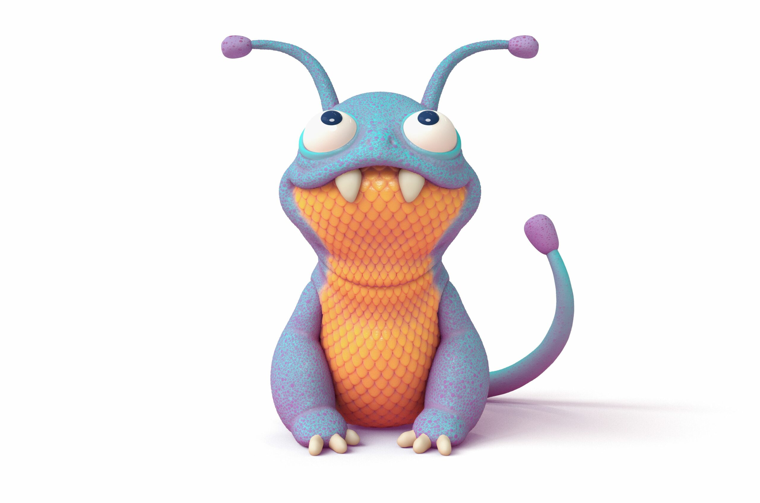 3d illustration of a cute little cartoon blue monster with a yellow belly sitting on white background with big text monster overhead. Concept art character of smiling silly frog mutant. Alien creature
